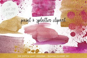 Watercolor Smears & Splatter Clipart