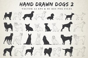 Hand Drawn Dog Breeds Vector 2