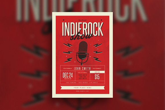 Indierock Event Flyer-Graphicriver中文最全的素材分享平台