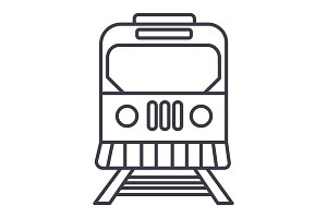 train in city vector line icon, sign, illustration on background, editable strokes