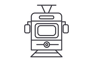 train,tram front view vector line icon, sign, illustration on background, editable strokes