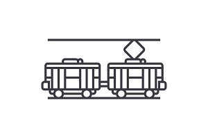 tram vector line icon, sign, illustration on background, editable strokes