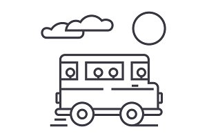 travel bus vector line icon, sign, illustration on background, editable strokes