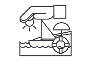travel insurance,boat,sun,sand,lifebuoy vector line icon, sign, illustration on background, editable strokes
