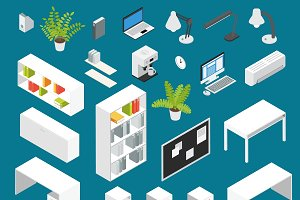Isometric Office workplace Icon Set