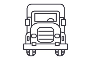 truck front view vector line icon, sign, illustration on background, editable strokes
