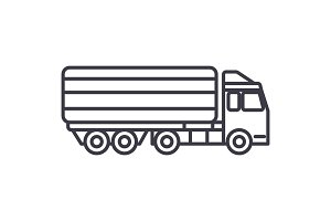 truck, delivery vector line icon, sign, illustration on background, editable strokes