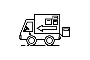 truck, delivery shipping vector line icon, sign, illustration on background, editable strokes