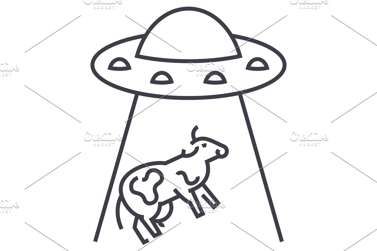 ufo invasion, cow vector line icon, sign, illustration on background,  editable strokes