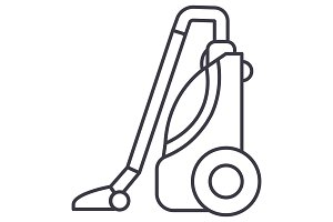 vacuum cleaner vector line icon, sign, illustration on background, editable strokes