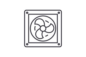 ventilation vector line icon, sign, illustration on background, editable strokes