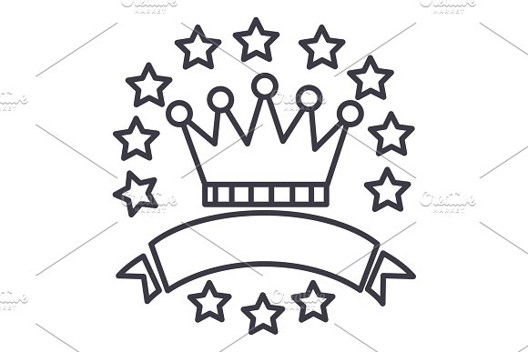 victory,crown with stars and ribbons vector line icon, sign, illustration on background, editable strokes
