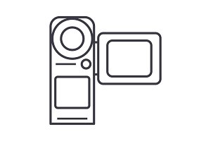 video camera,movie making vector line icon, sign, illustration on background, editable strokes
