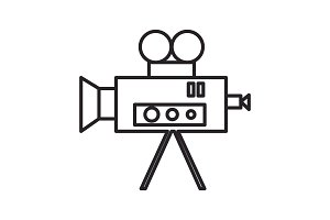 video cinema retro camera vector line icon, sign, illustration on background, editable strokes