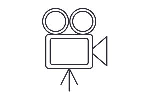 video cinema, retro camera illustration vector line icon, sign, illustration on background, editable strokes