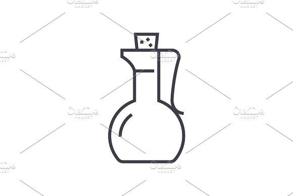 vinegard,sauce vector line icon, sign, illustration on background, editable strokes