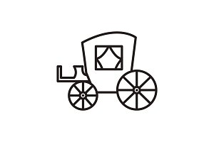 vintage carriage,antique transport vector line icon, sign, illustration on background, editable strokes