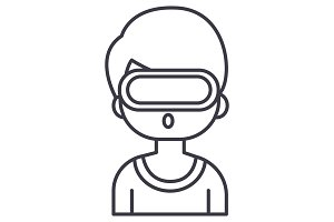 virtual reality,man with 3d glasses vector line icon, sign, illustration on background, editable strokes