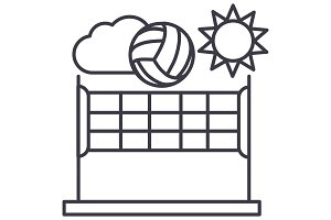 volleyball,summer sport vector line icon, sign, illustration on background, editable strokes