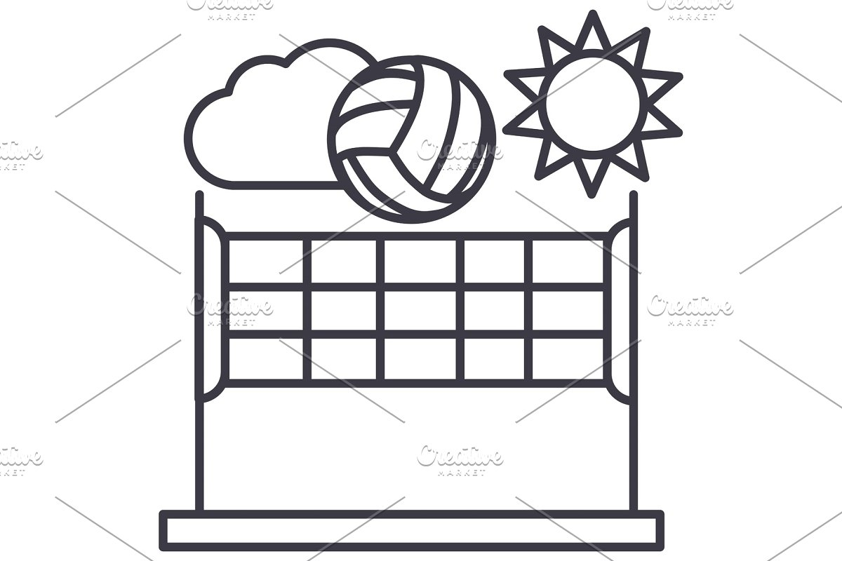 volleyball,summer sport vector line icon, sign, illustration on background, editable strokes in Illustrations