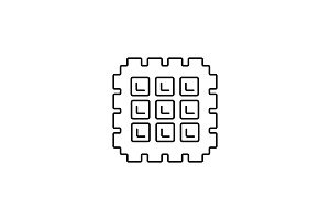 waffle vector line icon, sign, illustration on background, editable strokes