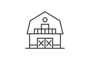 warehouse,farm,barn vector line icon, sign, illustration on background, editable strokes