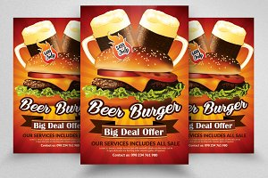 Beer & Burger Restaurant Flyers