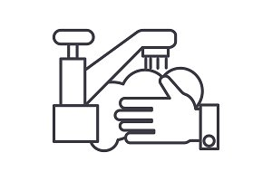 washing hands,wash crane vector line icon, sign, illustration on background, editable strokes