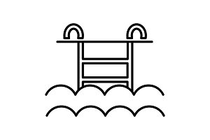 water pool vector line icon, sign, illustration on background, editable strokes