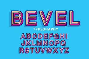 beveled typography design vector