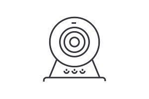 web cam,online camera vector line icon, sign, illustration on background, editable strokes