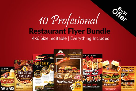 10 restaurant flyer templates bundle flyer templates creative market