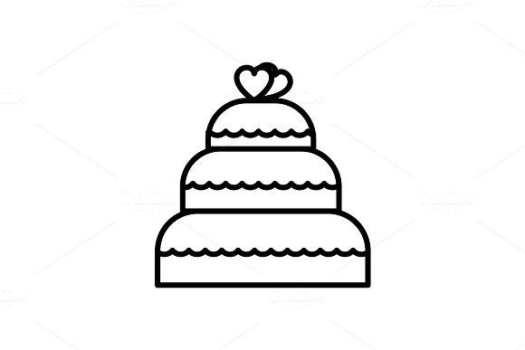 wedding cake  vector line icon, sign, illustration on background, editable strokes