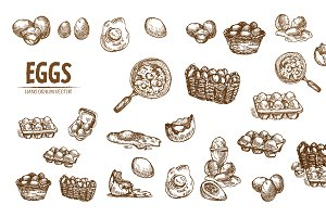 Bundle 20 eggs vector set 2