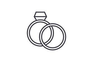 wedding rings with diamond vector line icon, sign, illustration on background, editable strokes