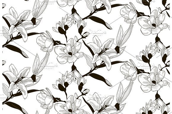Vector Seamless Pattern with Drawn Flowers