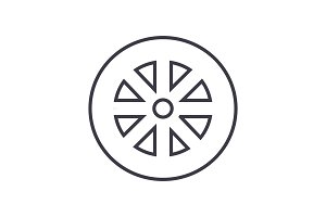 wheel vector line icon, sign, illustration on background, editable strokes
