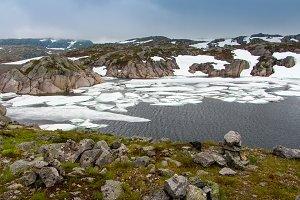 Melting ice on a lake