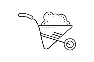 wheelbarrow garden vector line icon, sign, illustration on background, editable strokes