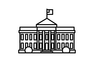 white house in usa vector line icon, sign, illustration on background, editable strokes
