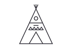 wigwam illustation vector line icon, sign, illustration on background, editable strokes