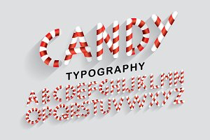 candy typography design vector