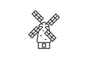 windmill vector line icon, sign, illustration on background, editable strokes