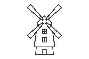 windmill,holland vector line icon, sign, illustration on background, editable strokes