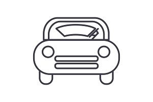 windshield car vector line icon, sign, illustration on background, editable strokes