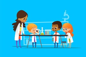 School children in lab