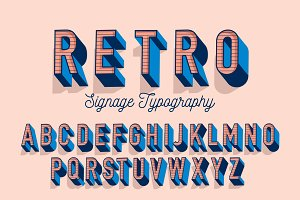 retro typography design vector