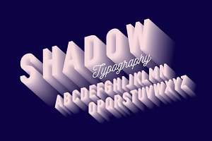 shadow typography design vector