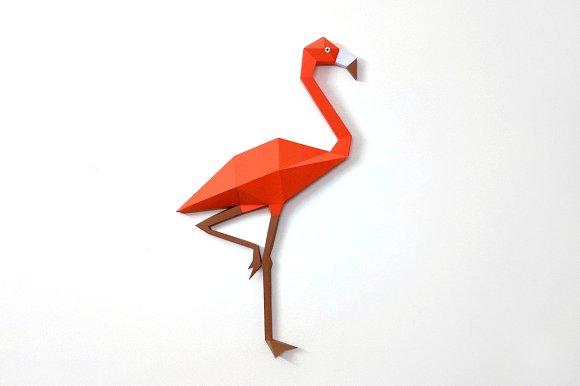 Diy Flamingo Wall Art 3d Papercraft Templates Creative Market