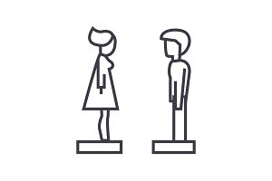 woman and man in profile vector line icon, sign, illustration on background, editable strokes